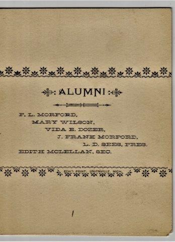 1891 Unionville Alumni Reception